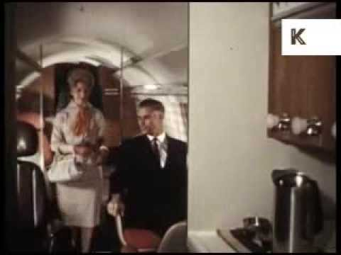 1960s Private Jet Business Trip Glamour, Colour Archive Footage