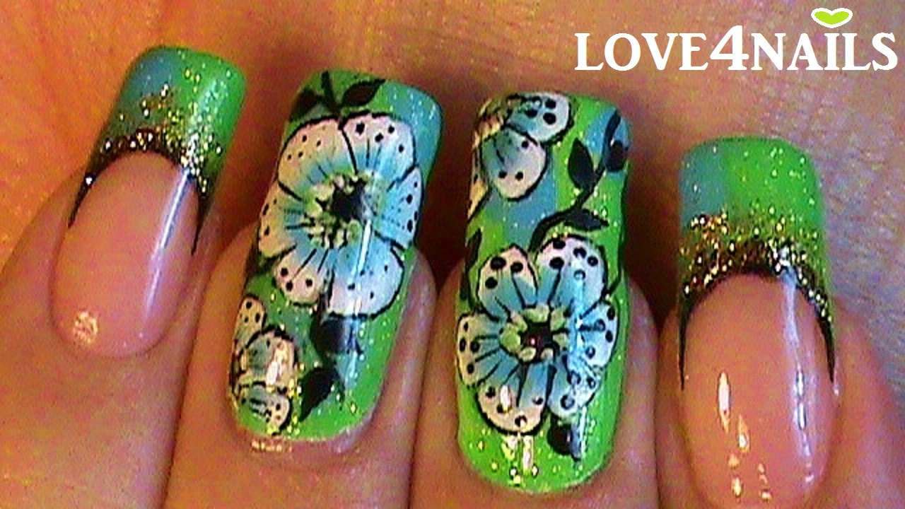jlo Green Dress Inspired Nail Art - YouTube