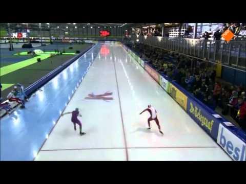 1e 500 meter NK Sprint Oscar van Leen tegen Koen Verweij