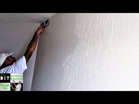 Part 2 How to skim coat trick with a paint roller and joint compound