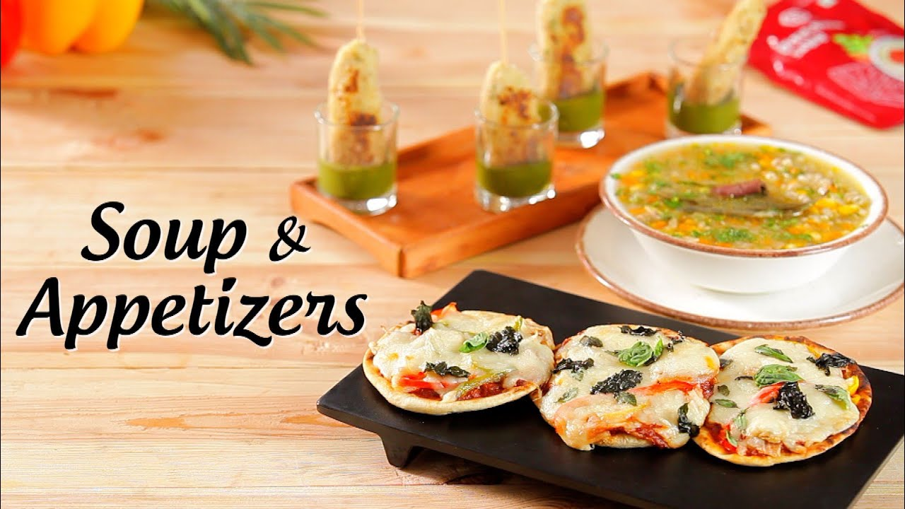 Soup & Appetizers | Barley Soup, Naan Pizza, Kesar & Badam Kebabs | Recipes  By Amrita Kaur