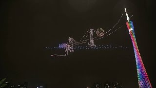 Dazzling drone light show staged above China's Zhujiang River