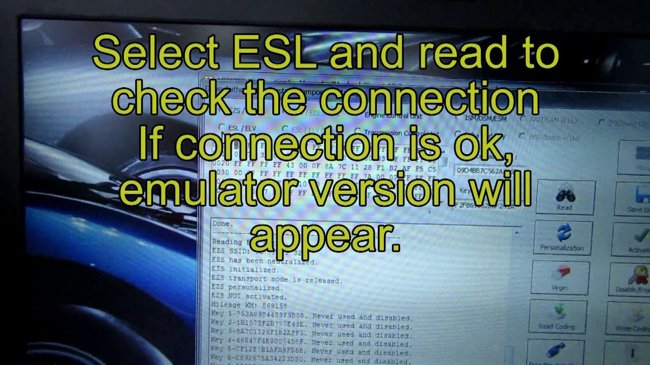 Mercedes W204 2010 Abrites emulator installation for ESL problems שכפול  מפתח מרצדס