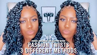 SHOULDER LENGTH PASSION TWISTS | 3 METHODS: RUBBERBAND, CROCHET, & BRAID GRIP | BAILI NICOLE
