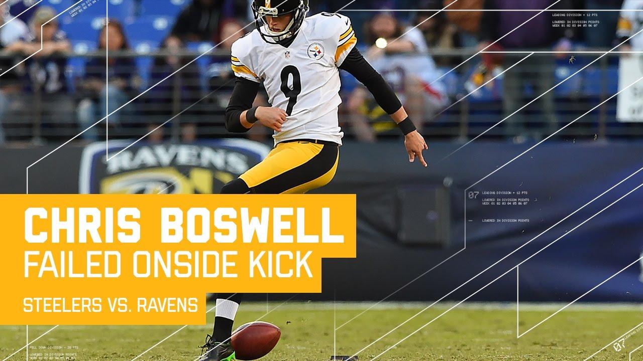 Kick Fail Steelers K Chris Boswell Attempts Worst Rabona Onside Kick Steelers Vs Ravens Nfl Youtube