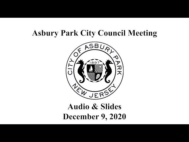 Asbury Park City Council Meeting - December 9, 2020