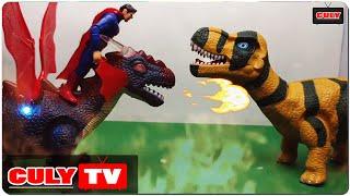 khủng long bay đại chiến khủng long bạo chúa gọi robot siêu nhân superman - đồ chơi Doremon chế hài