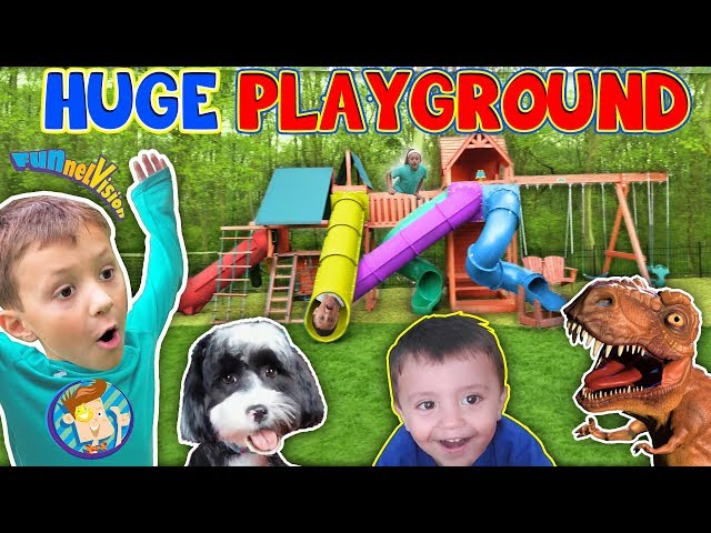 Giant Playground Surprise from DINOSAUR!  5 Slides!! FUNnel Vision Vlog
