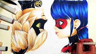 Speed drawing: Ladybug and Super Cat, copic sketch (как нарисовать Леди Баг и Супер кот)
