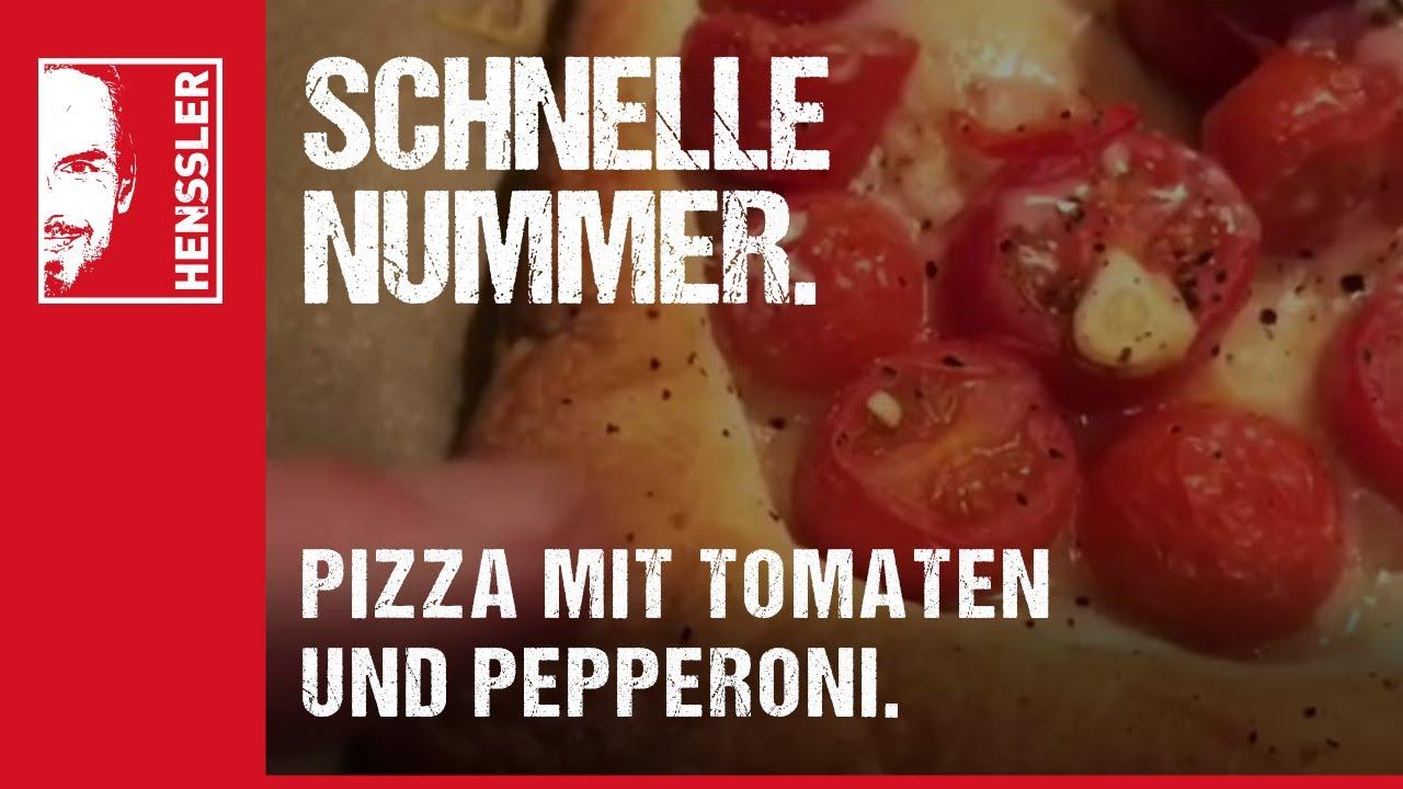 Schnelles Pizza-Rezept mit Tomaten, Champignons und Peperoni von Steffen Henssler - YouTube