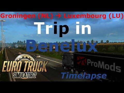 Euro Truck Simulator 2: Promods 2.16: Groningen (NL) - Luxemburg (LU) Timelapse