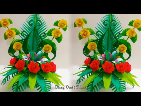 How To Make Paper Flower Bouquet||Easy Paper Flowers Bouquet ll Floral decoration||Flower Making DIY