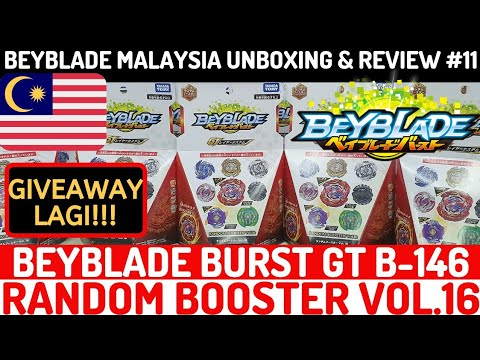 GIVEAWAY LAGI! B-146 Random Booster Vol.16 | Beyblade Malaysia Unboxing & Review #11