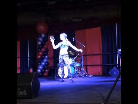 Talented Lindsay-Marie doing crystal ball act at Calgary Tattoo & Arts Festival