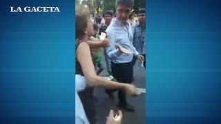 Pablo Yedlin fue increpado por un grupo de personas en la marcha por los policías asesinados