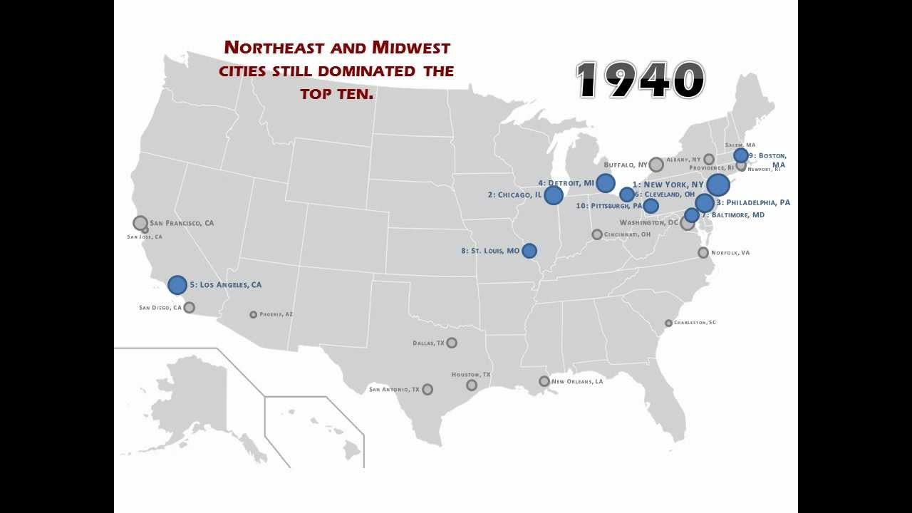 Largest Cities In The United States Over Time YouTube - Map of largest cities in us