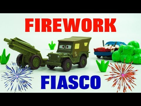 7460b1e3ca Happy 4th of July Stop-Motion FIREWORKS by Sarge Cartoon Lightning McQueen  & Cruz Ramirez Save Cars - YouTube
