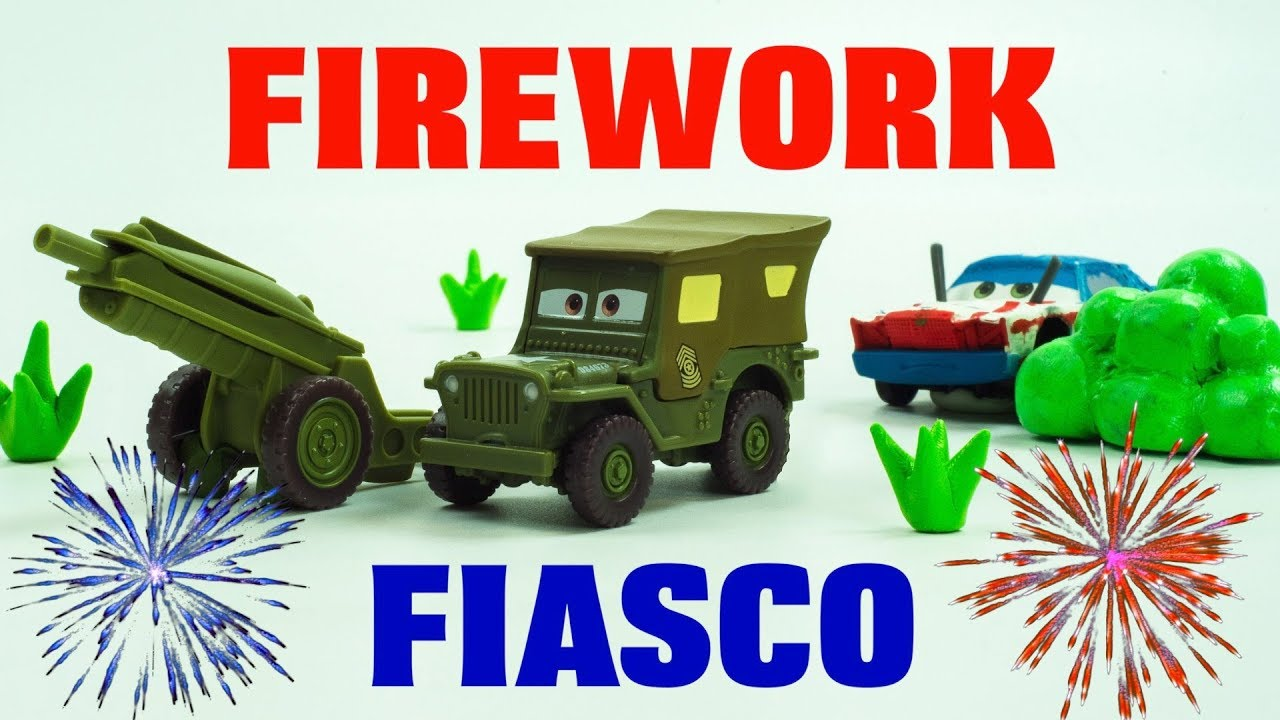 Happy 4th of July Stop-Motion FIREWORKS by Sarge Cartoon Lightning McQueen & Cruz Ramirez Save Cars