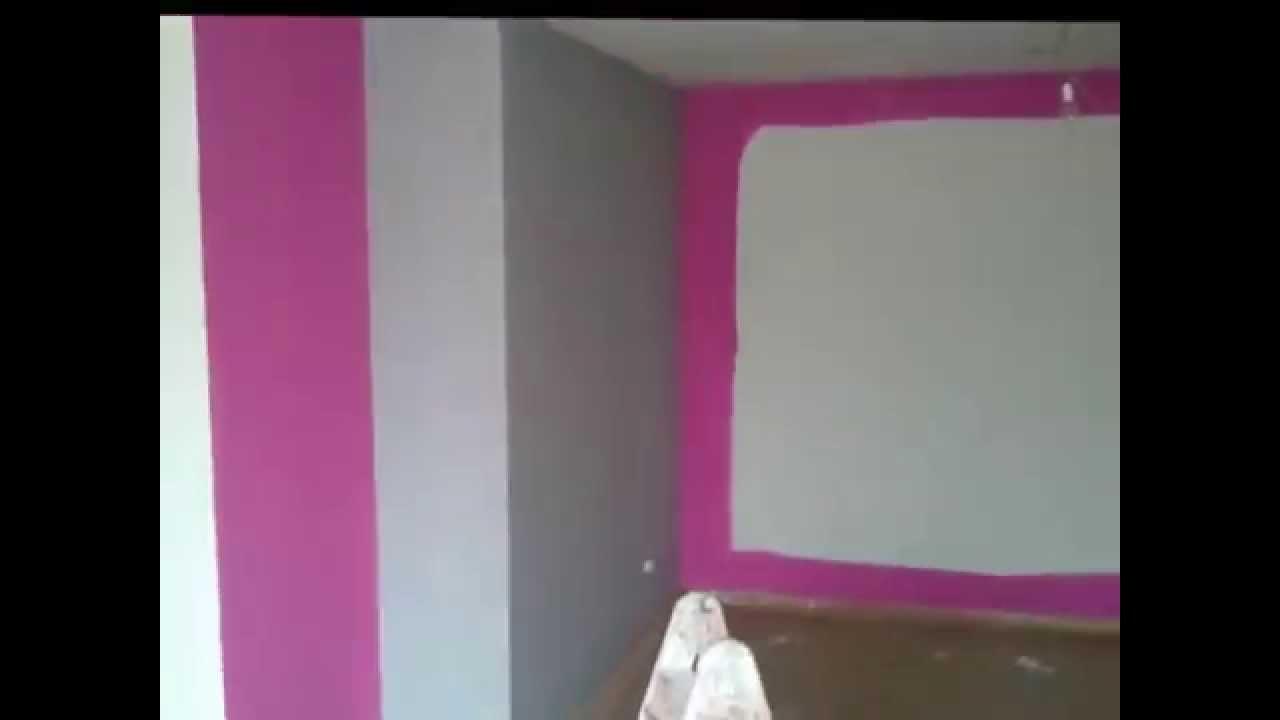 Pintar Salon en Plastico Rosa Oscuro y Gris Claro