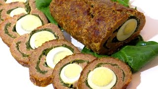 МЯСНОЙ РУЛЕТ со шпинатом и яйцом.  Meat roll with spinach and egg.