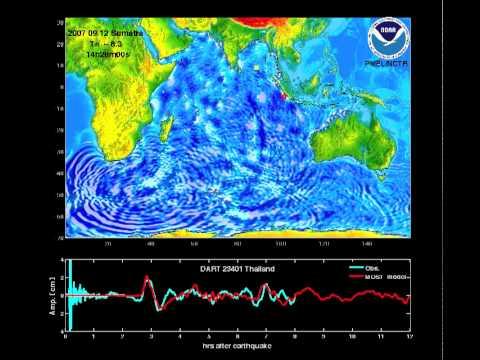 Sumatra Tsunami propagation in the Pacific Ocean (2007)
