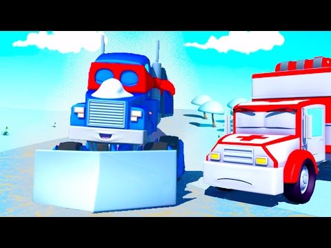 Carl  the Super Truck and the Snowplow in Car City | Trucks Cartoon for kids