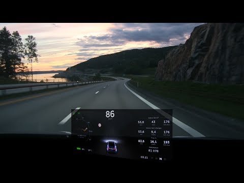 Model X P90D 450 km/280 mi range eco driving timelapse