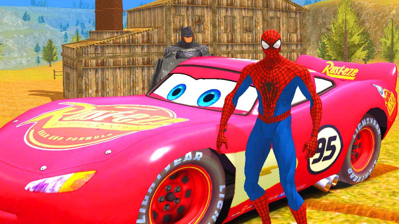 Spiderman batman avec flash mcqueen du film disney cars - Flash mcqueen film gratuit ...