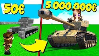 CARRO ARMATO DA 50 EURO contro CARRO ARMATO DA 5.000.000 EURO su MINECRAFT!
