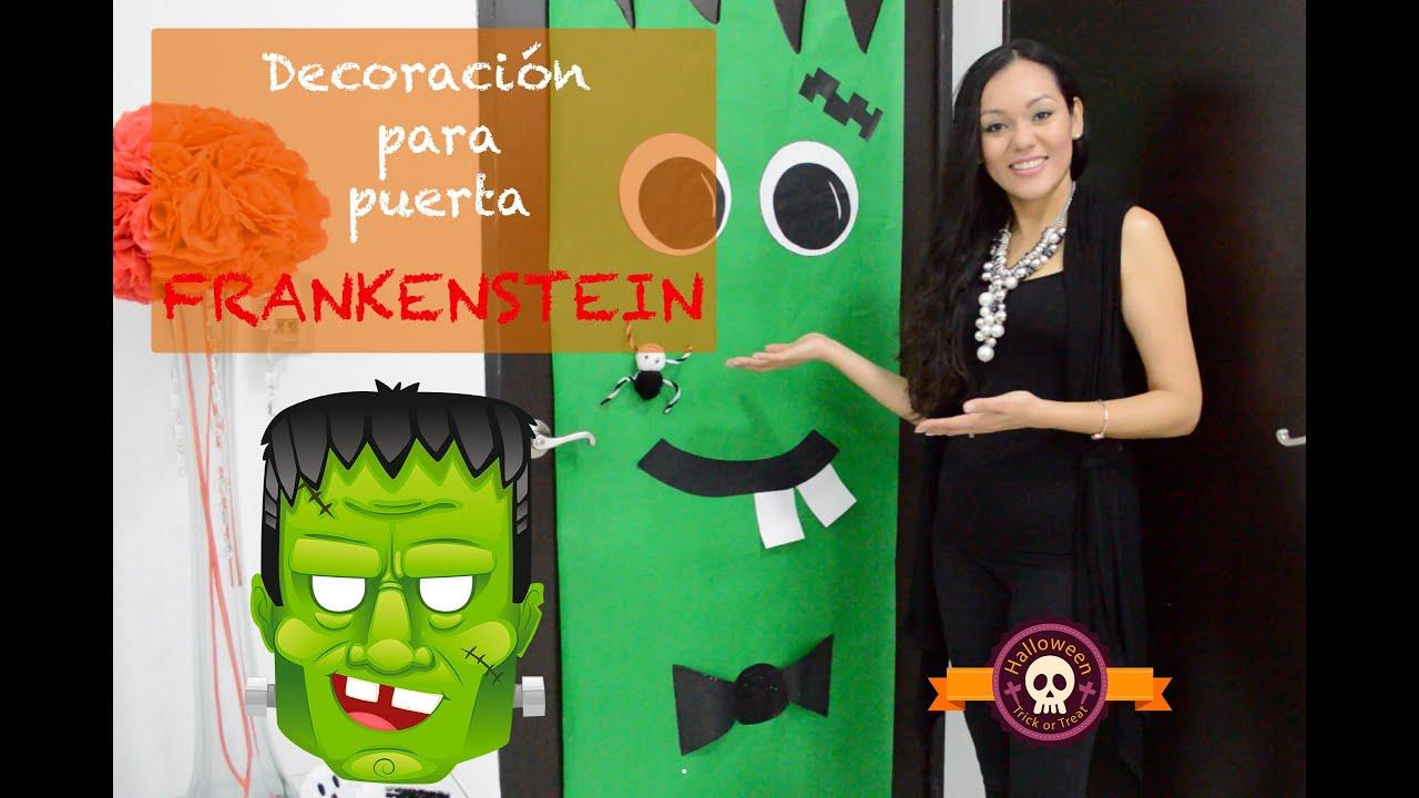 Decoraci n frankenstein para halloween youtube for Decoracion para puertas halloween