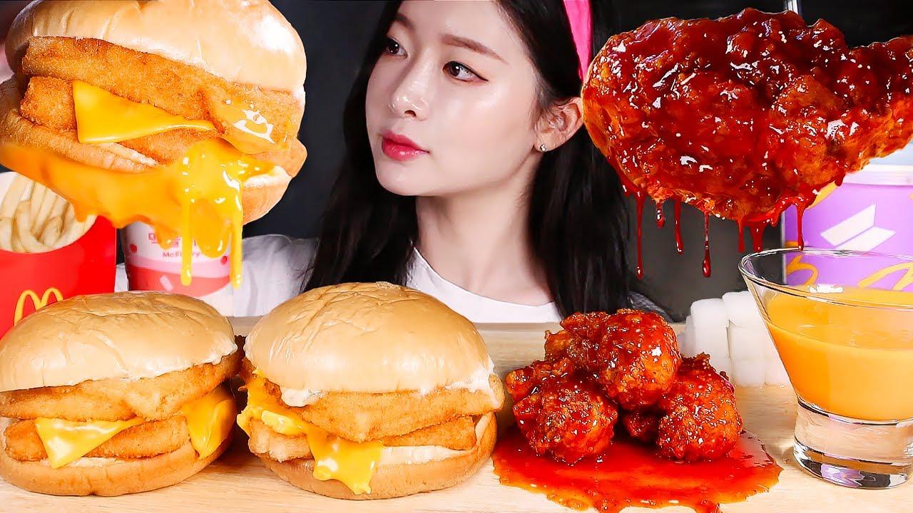 맥도날드 더블필레오피쉬 매운양념치킨 먹방 | DOUBLE FILET O FISH BURGERS & SPICY FRIED CHICKEN & CHEESE SAUCE MUKBANG
