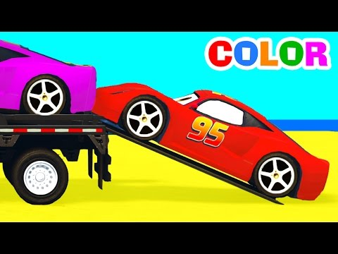 Thumbnail: Color McQueen Cars Transportation w Spiderman Cartoon for Kids Colors for Children Nursery Rhymes