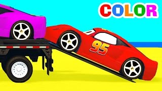 Color McQueen Cars Transportation w Spiderman Cartoon for Kids Colors for Children Nursery Rhymes