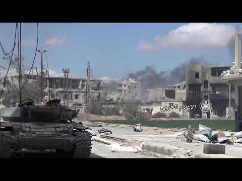 SYRIA:SYRIAN ARMY'S BATTLE-TANKS HITS MILITANT POSITIONS IN THE EAST GHOUTA DISTRICT OF JISREEN