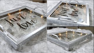 DIY DOLLAR TREE SUPER GLAM GLASS TRAY