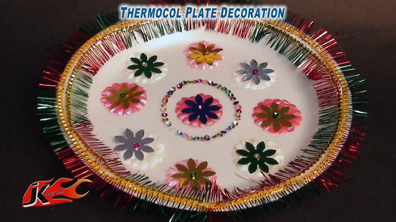 DIY Thermacole Plate decoration | How to make |JK Easy Craft for kids 033 - YouTube : decoration of plates - Pezcame.Com