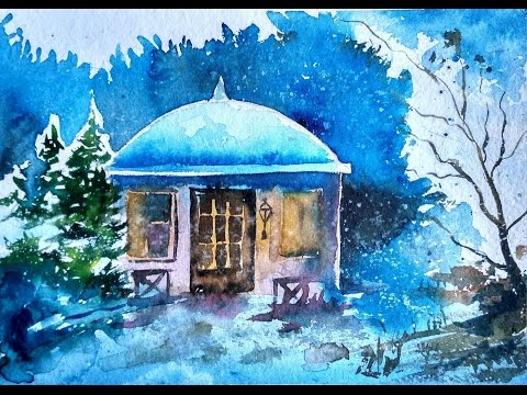 WATERCOLOR Tutorial: How to Paint a CHRISTMAS NIGHT Landscape (Christmas Starry Night)