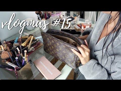 PACKING MY TRAVEL MAKEUP BAG, BROW TINT + LASHES: VLOGMAS #15 | Stephanie Ledda