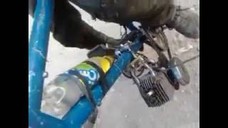Talented young Moroccan converts a bicycle to a motorcycle
