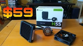 corsair h55 liquid cpu cooler unboxing install and test run