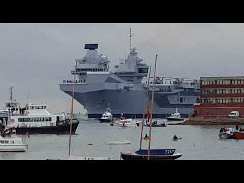HMS Queen Elizabeth UK's new aircraft carrier at Portsmouth