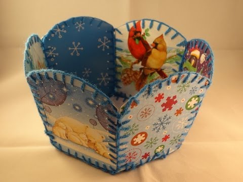 Recycled Christmas Card Basket -with yoyomax12