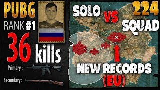 [Eng Sub] PUBG Rank 1 - Sadovnik 36 kills [EU] Solo vs Squad TPP -PLAYERUNKNOWN\'S BATTLEGROUNDS #224