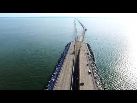 Chesapeake Bay Bridge Tunnel Virgina Beach Drone Phantom 3 & OSMO