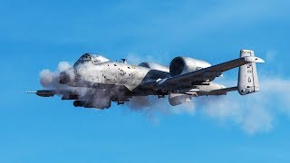 Awesome A-10 Warthog in Action  Firing the Dreaded GAU-8 Gatling Gun VS Humvee
