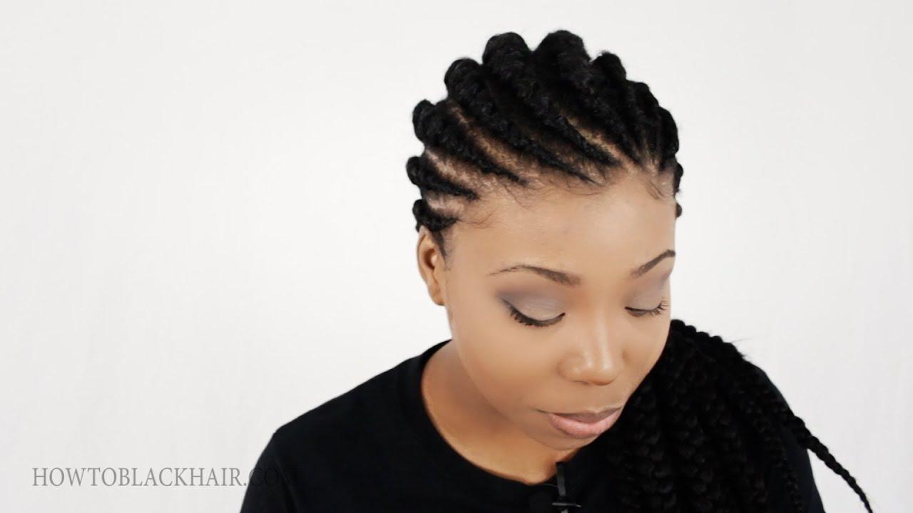 Ghana Braids Invisible Cornrow Braids Hairstyle Tutorial Part 1