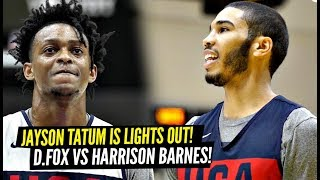 DON'T CHALLENGE Jayson Tatum To a Shooting Contest! DeAaron Fox vs Harrison Barnes at USA Practice!