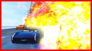 Jackson Storm Gets Blown Up!!! Cars 3 Driven to Win Lightning McQueen and Friends