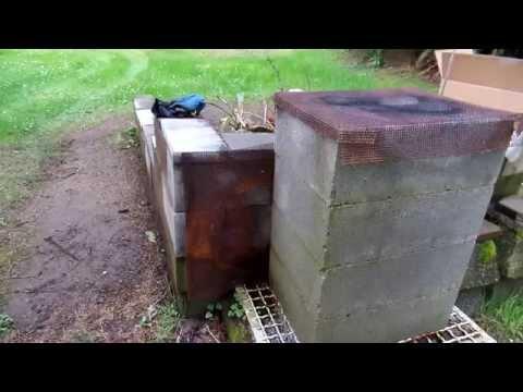 Using chimney blocks to burn trash.