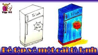 Bé tập vẽ cái tủ lạnh theo mẫu | draw the refrigerator